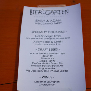 Emily and Adam's Welcome to Las Vegas Party Planner - Drink Menu