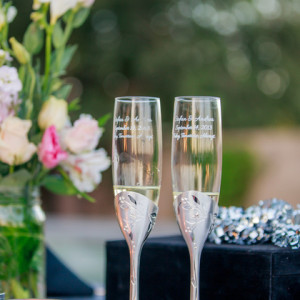 Andrea and Stefan's Wedding Photography - Toasting Flutes